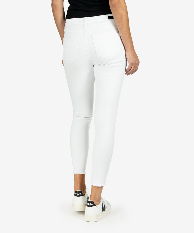 Back view of white high waisted skinny ankle jeans