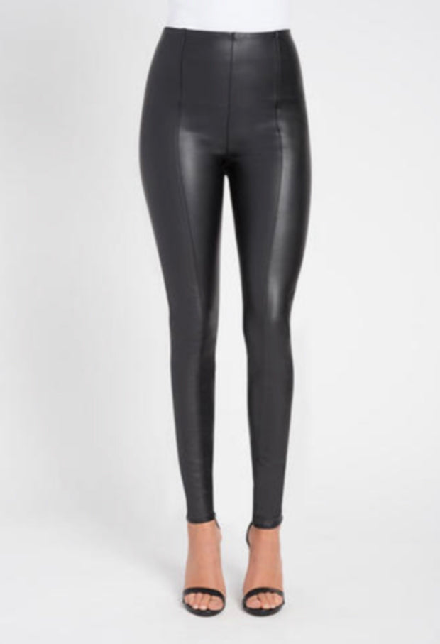 Glossy vegan black leather leggings with a piping detail on the front
