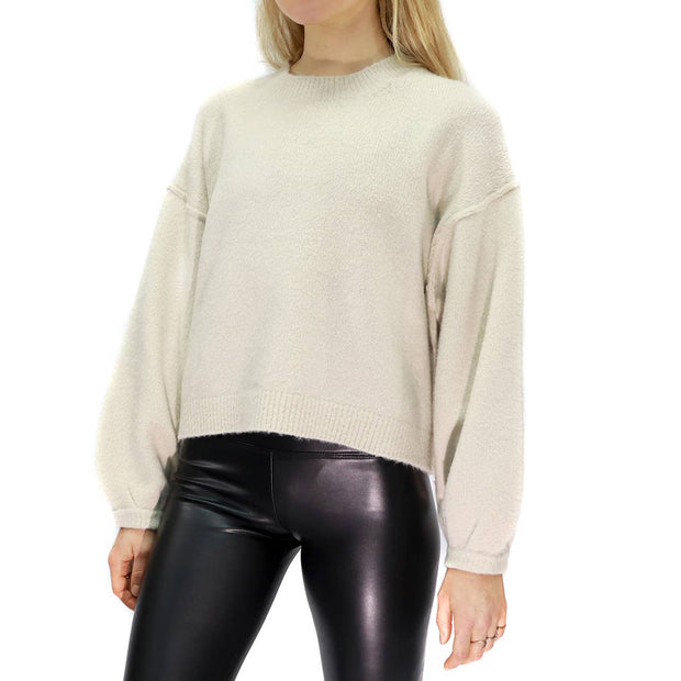Cozy light grey sweater with a mock neck and balloon sleeves