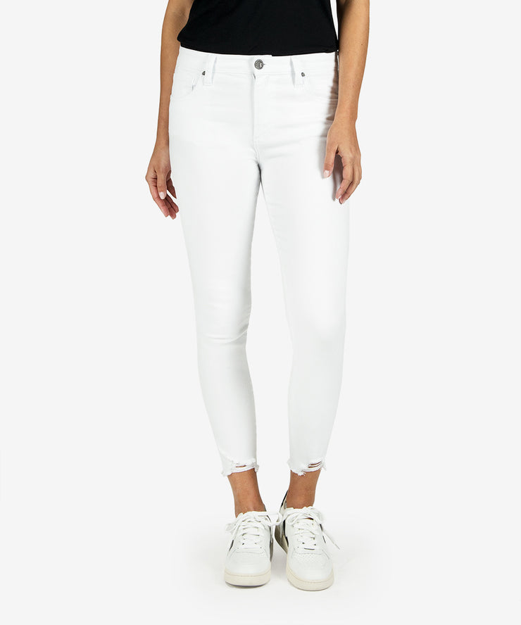 White high waisted ankle skinny jeans with a distressed bottom