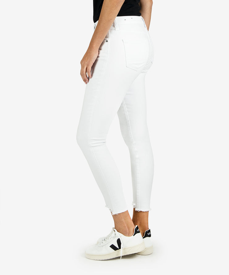 High waisted white skinny ankle jeans with raw hem bottom