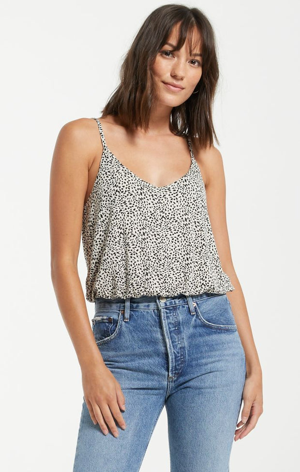 Spaghetti strap leopard printed tank top with elastic and slouchy hem