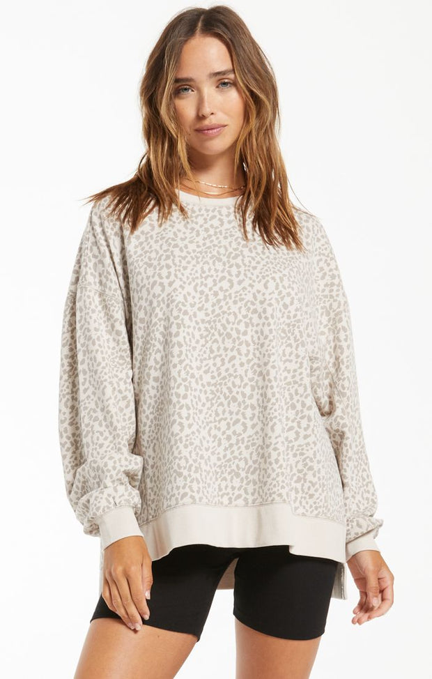 French terry soft leopard print pullover with side slits