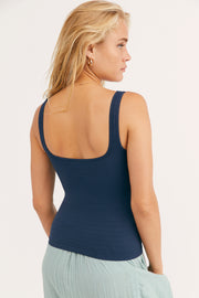 Seamless square neckline tank in navy