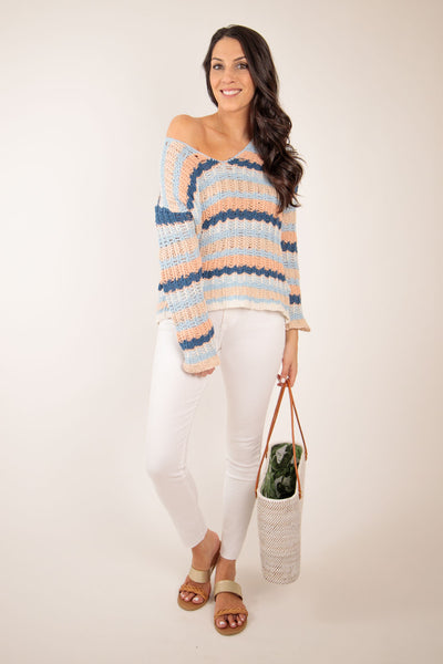 spring striped beach sweater with white jeans