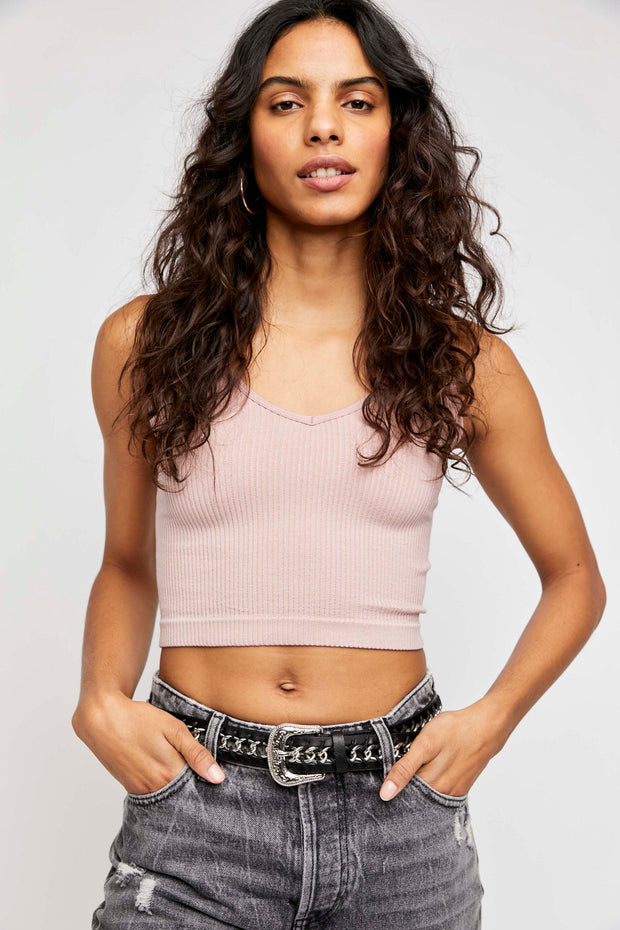 Free People Ribbed Brami Ballet Pink