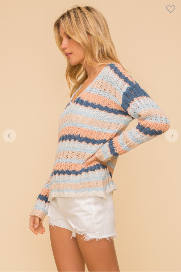 v-neck striped beach sweater off the shoulder