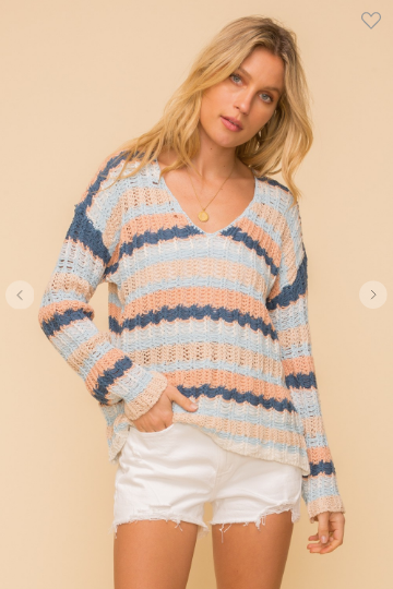 v neck striped summer sweater with white denim shorts