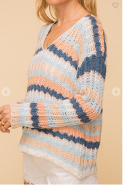 striped beach spring sweater peach and navy and baby blue