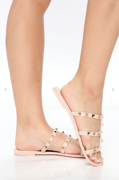 Beige Three Strap Studded Jelly Sandals