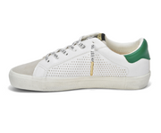 Classic no tie, slip on,  stan smith looking sneakers with star design and green colored detail