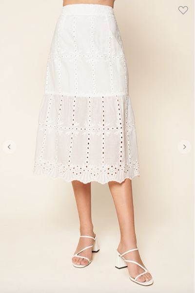 White embroidered eyelet tiered midi skirt