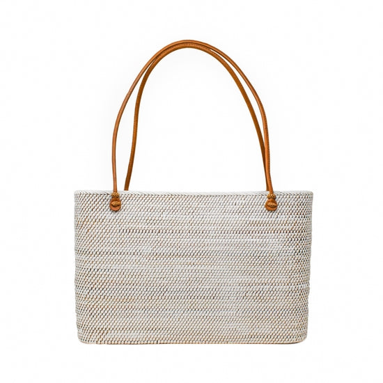 White handwoven large tote bag with brown straps