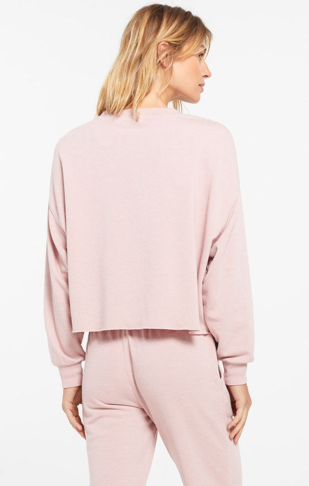 French terry fabric pullover in light pink