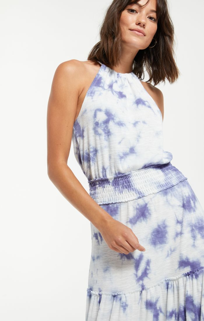 Blue and white tie dye maxi dress