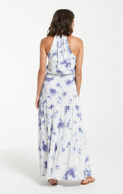 Back view of blue and white tie dye maxi