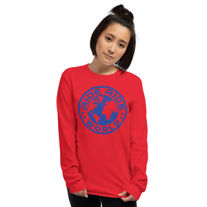 Image of a girl wearing the blue medallion long sleeve shirt by Ride Ride World in the color red.