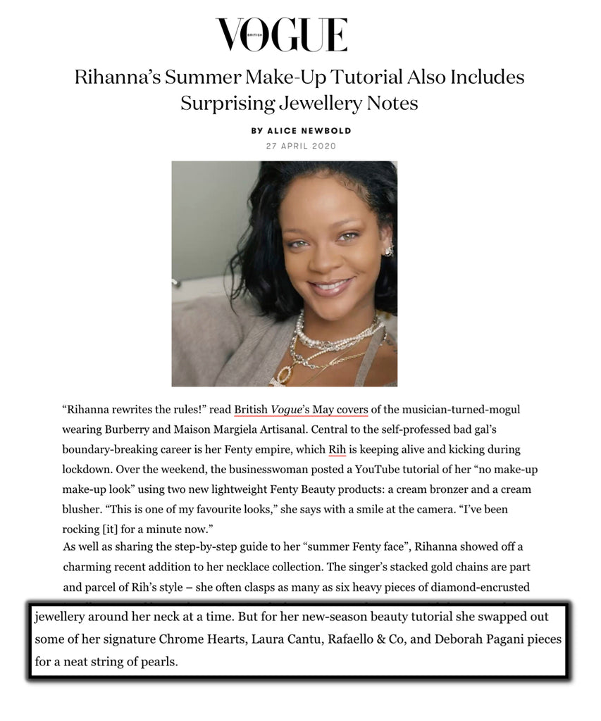 Deborah Pagani mentioned in Rihanna's Make-Up Tutorial and Jewellery Notes.