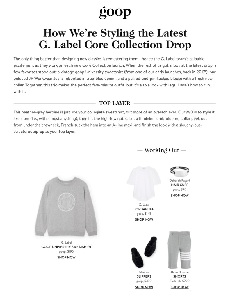 Deborah Pagani's Hair Cuff featured in how to style G. Label Core Collection By goop.