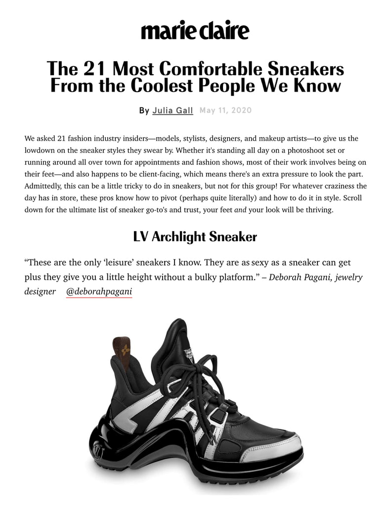 "Deborah Pagani featured in Marie Claire's 21 Most Comfortable Sneakers From the Coolest People We Know. ""These are the only 'leisure' sneakers I know. They are as sexy as a sneaker can get plus they give you a little height without a bulky platform."" – Deborah Pagani, jewelry designer"