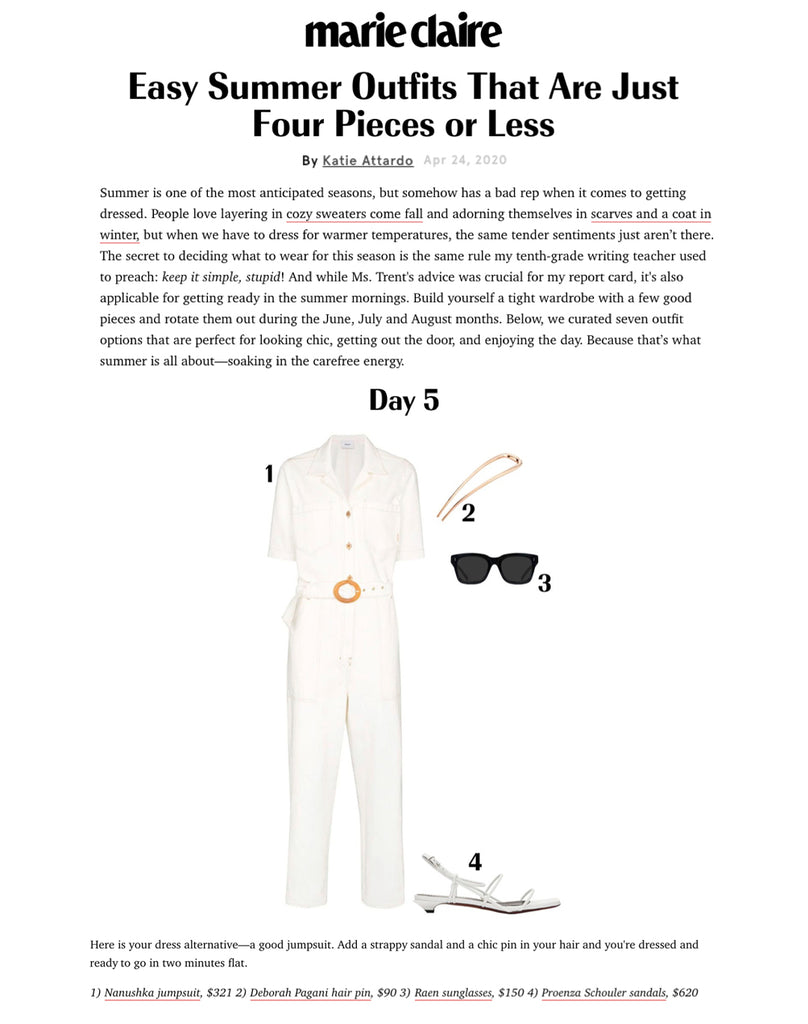 Deborah Pagani's Sleek Hair Pin featured in Easy Summer Outfits By Marie Claire. Here is your dress alternative—a good jumpsuit. Add a strappy sandal and a chic pin in your hair and you're dressed and ready to go in two minutes flat.