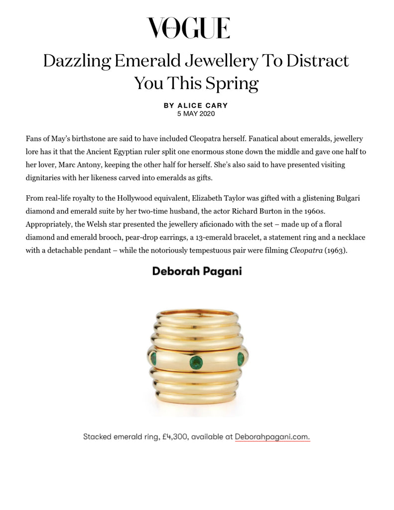 Deborah Pagani's Honey Ring featured in Dazzling Emerald Jewellery To Distract You This Spring by Vogue UK.