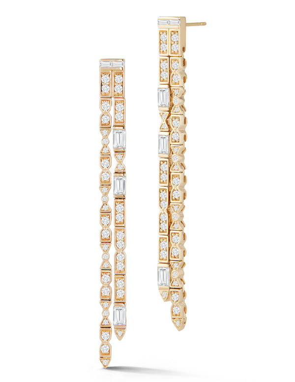 18k Yellow Gold fringe earrings with 2.19 carats of diamonds.
