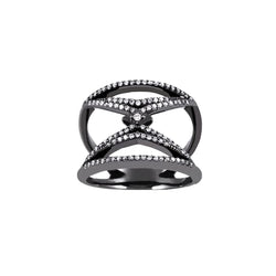 18k oxidized white gold ring with white diamonds.