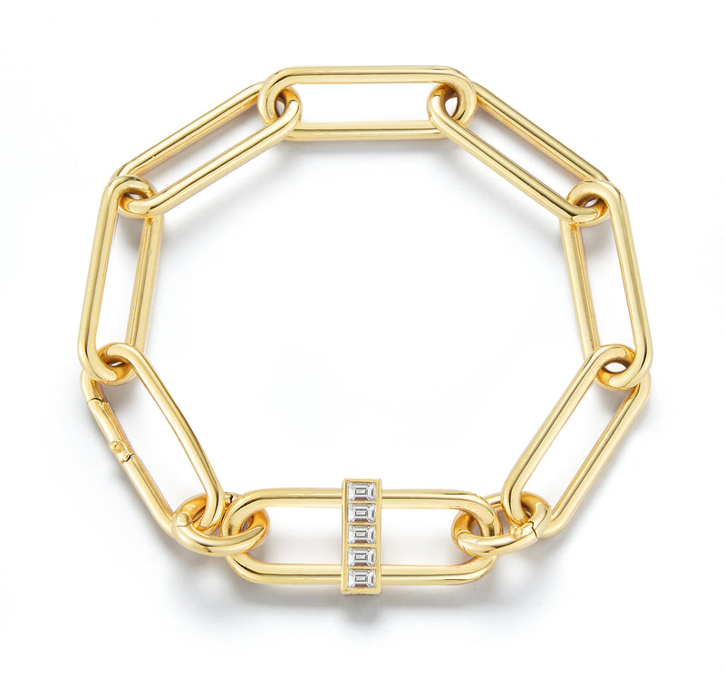 "22"", 18K Yellow Gold Interlocking Pill Link Necklace with sapphire, white diamonds, and sapphire enamel."