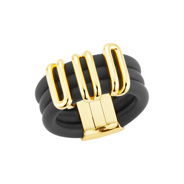 Black Caucciù ring with an 18K Yellow Gold coil.
