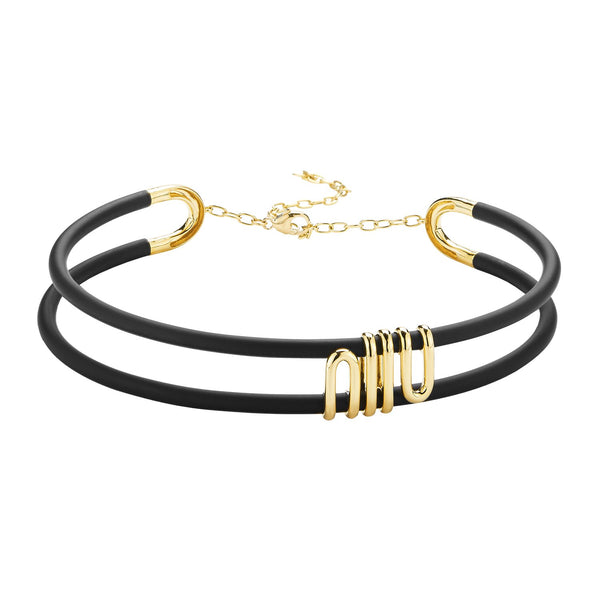 Black Caucciù choker with 18k yellow gold coil with adjustable clasp.