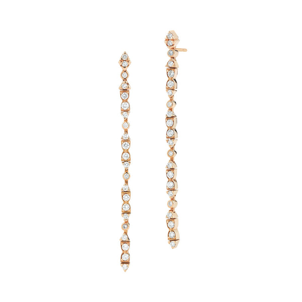 18k rose gold earrings set with white diamonds.