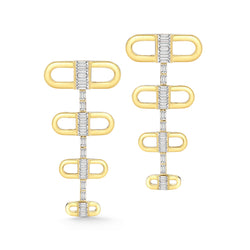 18k yellow gold earrings set with white diamond baguettes.