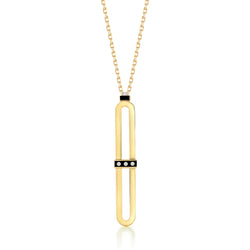 18K Yellow Gold pendant with diamonds set in black onyx.