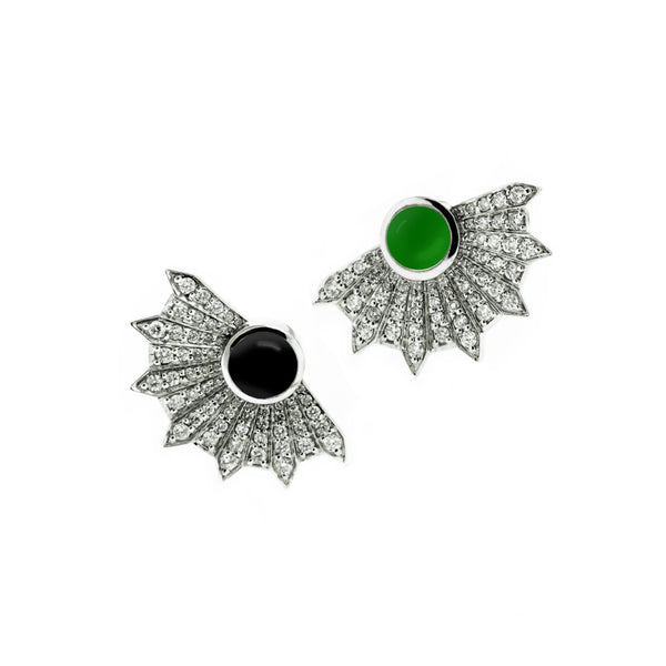 18k oxidized white gold earrings, grey diamonds, green topaz, and onyx.
