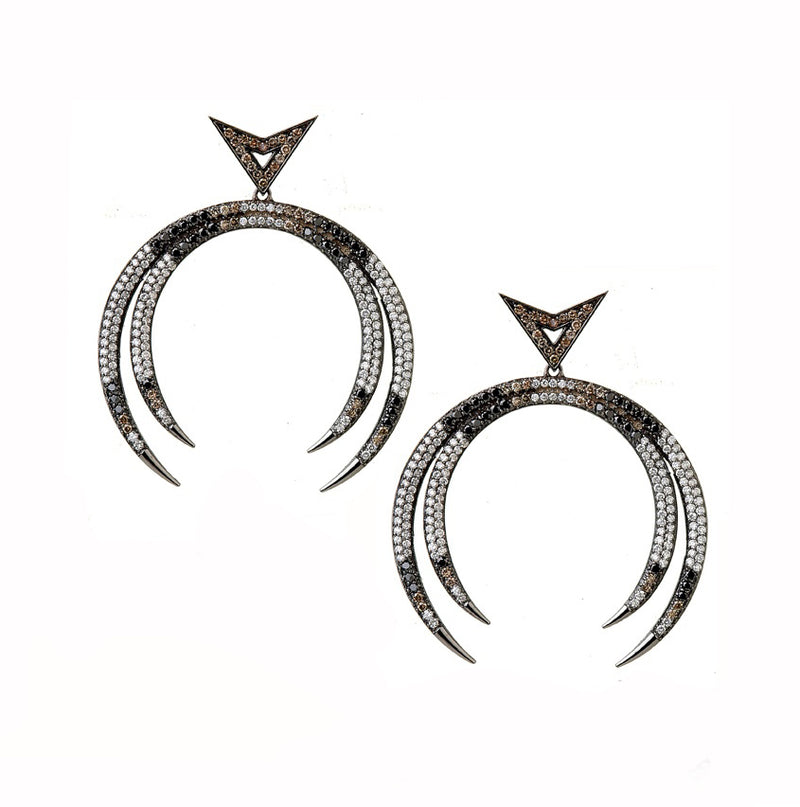 18K white gold earrings, paved grey, black, white diamonds.