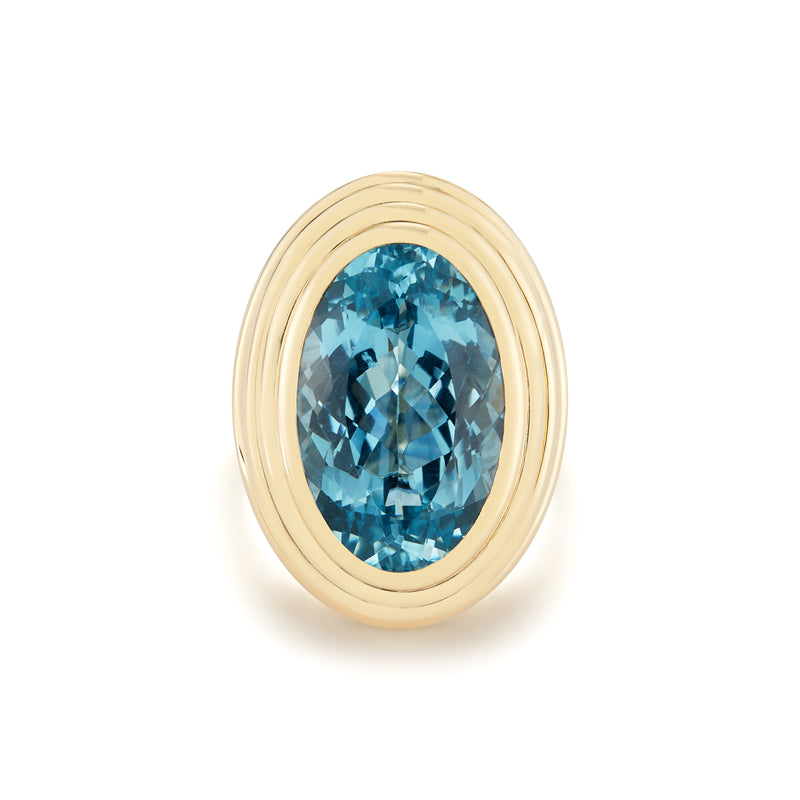 18K Yellow Gold domed ring with 19 carat Aquamarine.