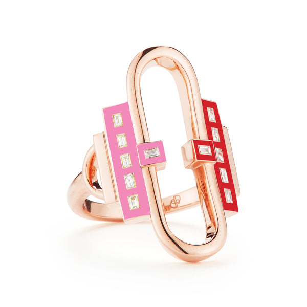18k rose gold, white diamond baguettes set in red and pink enamel.