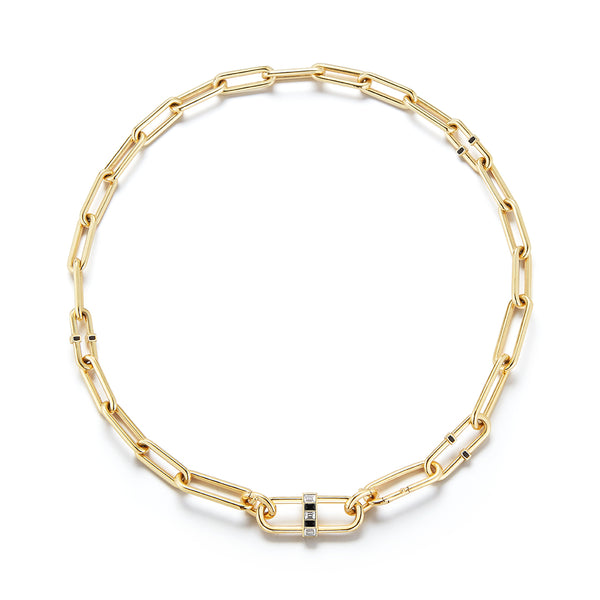"22"", 18K Yellow Gold Interlocking Pill Link Necklace with white diamonds and black enamel."