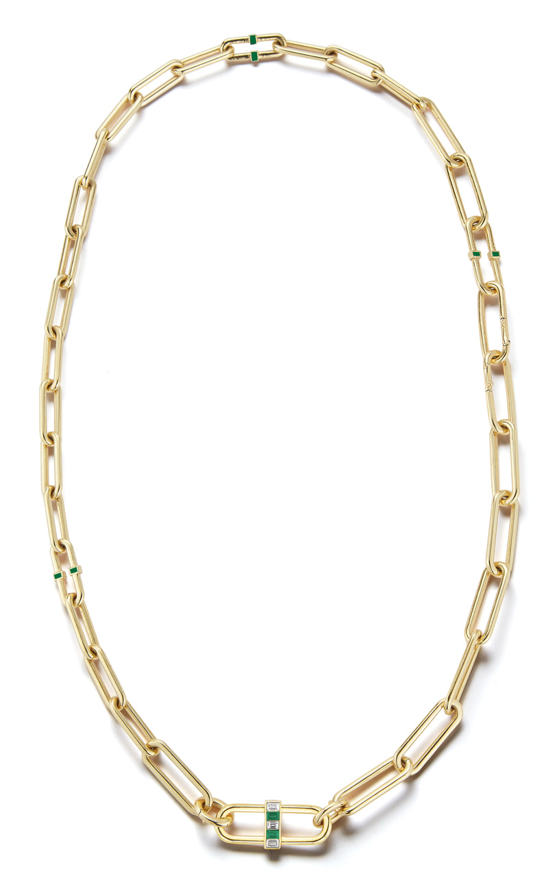 "22"", 18K Yellow Gold Interlocking Pill Link Necklace with emeralds, white diamonds, and emerald enamel."