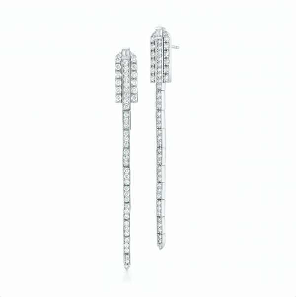 18k white gold earrings set with white diamonds.
