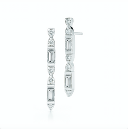 18k white gold earrings set with white round and baguette diamonds.