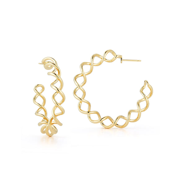 18K Yellow Gold Coil Hoop Earrings with post and push back fastening.