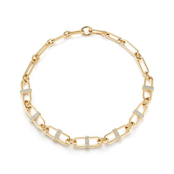 "22"", 18K Yellow Gold Interlocking Pill Link Necklace with white diamond baguettes."