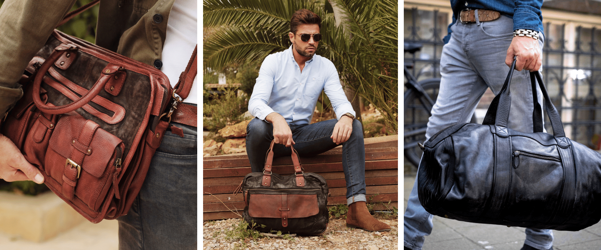 men with leather bags