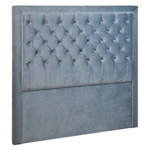 Blair Tufted Queen Bedhead - Dove Grey Velvet