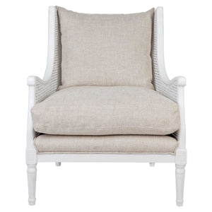 Havana Rattan Occasional Chair - White Frame w Natural Linen