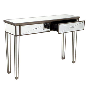 Apolo Mirrored Console Table - Antique Silver