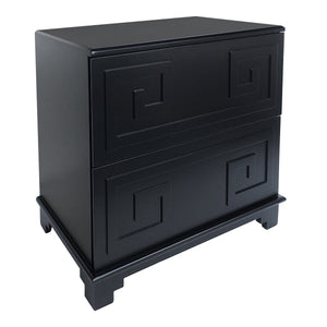 Greek Key Bedside Table - Black