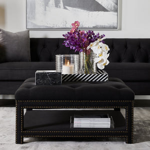 Serena Tufted Square Ottoman - Black Linen